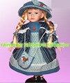 40 cm boneca de porcelana azul vestido da menina Europeia rural Campo Aldeia de cerâmica boneca estilo de decoração para casa