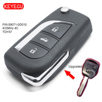Keyecu Upgraded Remote Key Fob 433MHz 4C Chip for Toyota Yaris Avensis Corolla FCC: 89071 0D010
