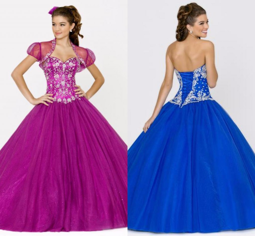 New Arrival 2015 Vestidos Damas Quinceanera Gowns With Jacket Royal ...