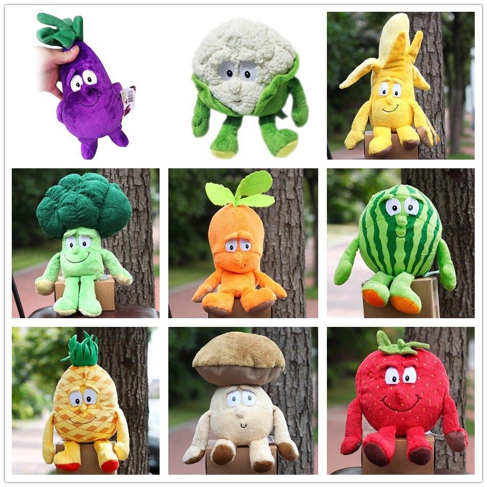 Livraison gratuite fruits légumes série fraise brocoli banane pastèque cerise banane champignon 9 doux peluche poupée jouet