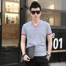 Hot Sale Summer Fashion Brand Clothing Solid V-Neck Men's T Shirt Cotton Slim Fit Short Sleeve Shirts Mens Casual Tee FWF017