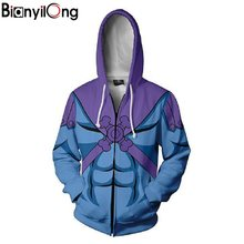 2018 Men Hooded Skeletor - Master of the Universe Zip Up Hoodie 3D Printed Hoodies Casual zipper hoodie hooded hip hop tops(China)
