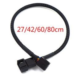 1pc 27/42/60/80cm PWM Cable de extensión placa principal, CPU 4 PIN Fan 4 P Cable adaptador caja de la computadora 4 PIN Cables de alimentación conectores