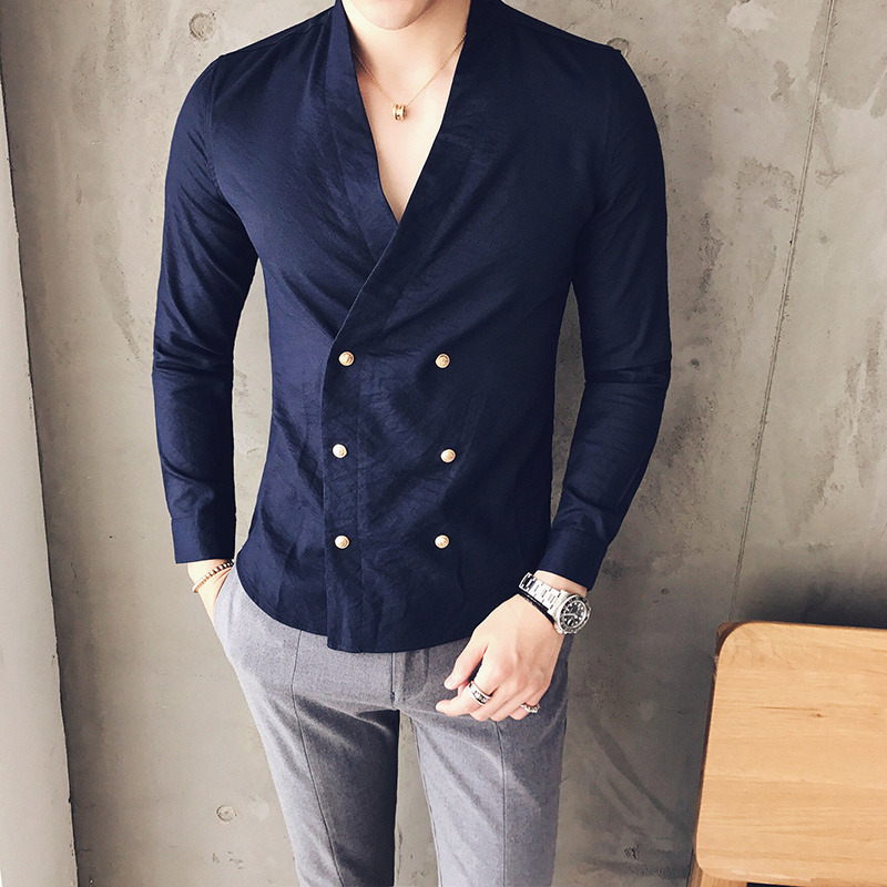 Sexy Shirt Men 2017 Antumn Long Sleeve Double Breasted Black Navy Designer Shirt Party Wedding Groom Shirt Camisa Masculina
