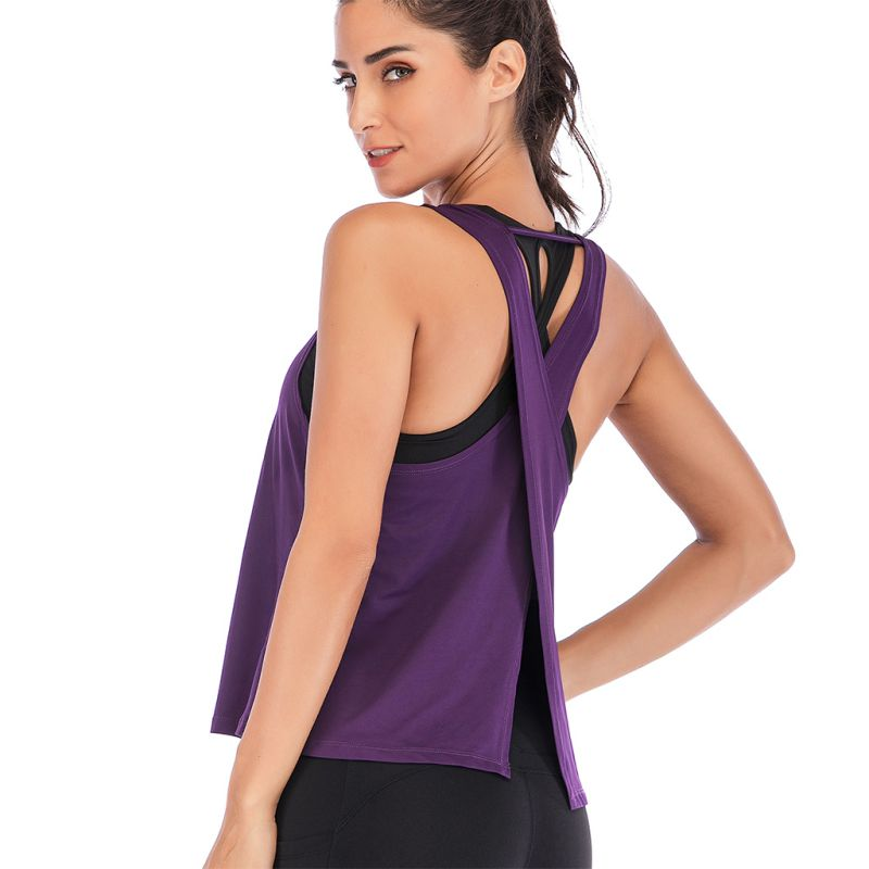 Women Fitness Tanks Cross Back Active Tops Open Back Summer Backless Vest Tops Solid Casual Sportwear in Tank Tops from Women 39 s Clothing