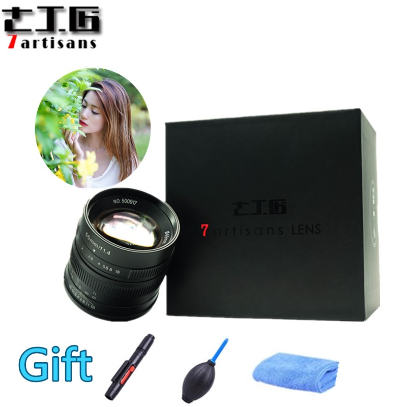 7 artesãos 55mm F1.4 Grande Retrato de Abertura Manual Focus Micro Lente Da Câmera Apto para Canon eos-m Montagem E Fuji Monte Frete Grátis