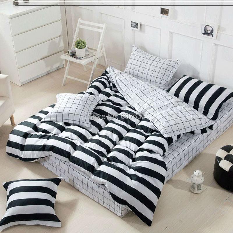 Hot Sale Bedding Set 4pcs Black White Stripe Plaid Stars Design 100%Cotton  Duvet Cover Bed Sheet Pillowcase Bed Linen 4pcs/set In Bedding Sets From  Home ...