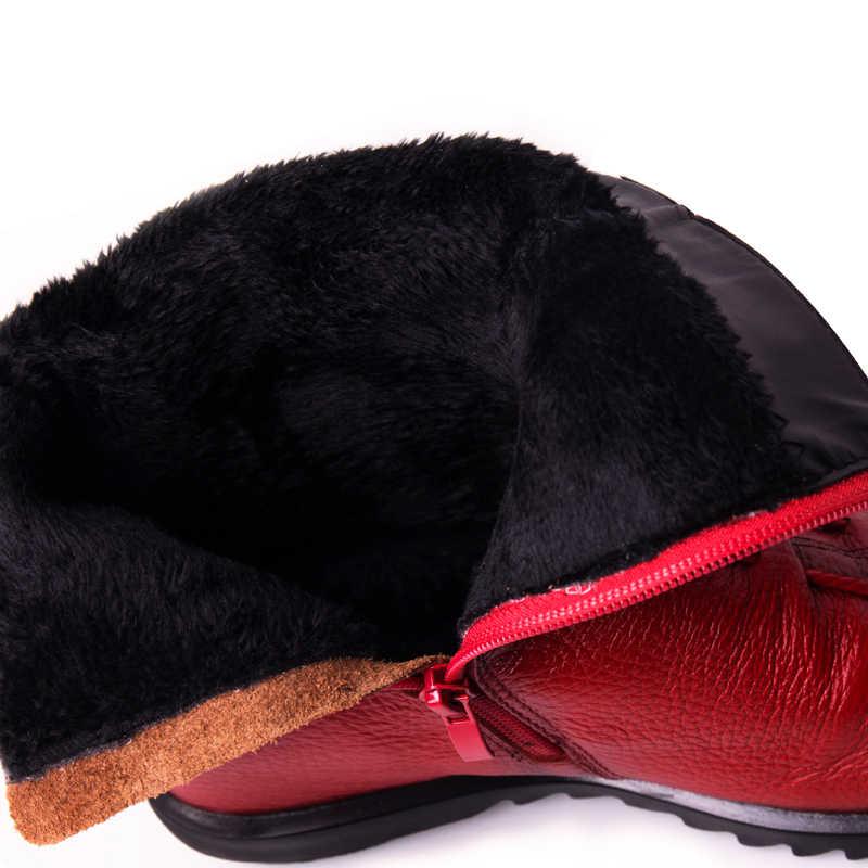 Echtes Leder Stiefeletten Frauen Casual Pelz Flache Martin Schnee Boot Damen Plus Größe Herbst Winter Frauen Schuhe botas mujer DT1041