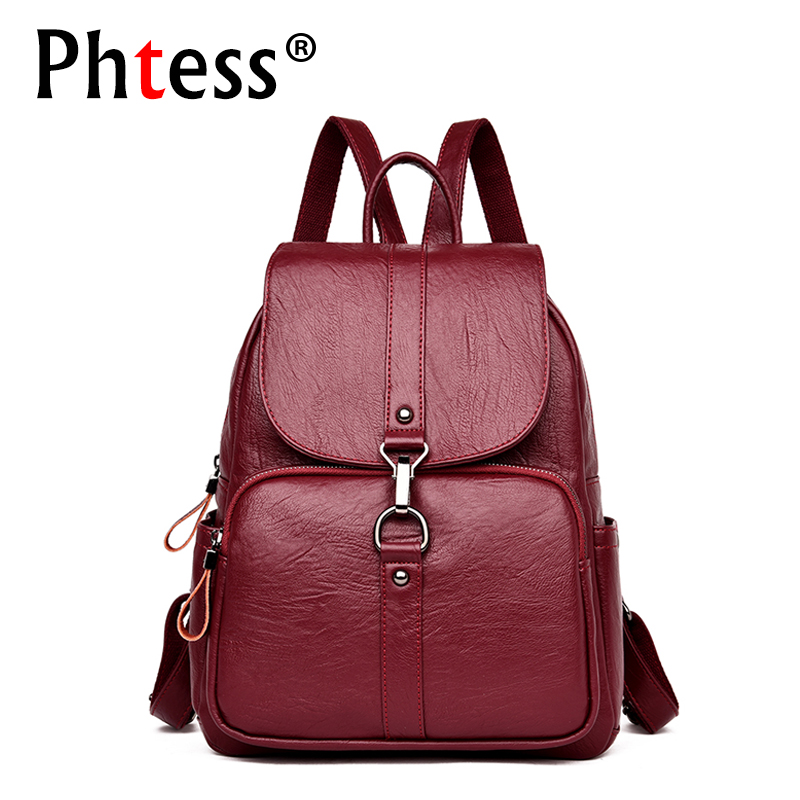 2018 Women Leather Backpacks Large Capacity Travel Back Pack Sac a Dos Designer Female Backpack High Quality Ladies Bagpack New new 65l nylon large capacity multifunctional backpack high quality waterproof travel bags designer rucksack sac a dos mochila