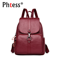 2019 Women Leather Backpacks Large Capacity Travel Back Pack Sac a Dos Designer Female Backpack High Quality Ladies Bagpack New
