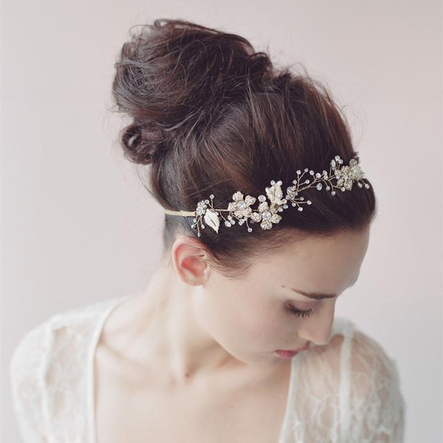 Crystal Pearl Nupcial Floral Headband Handmade Chapéu De Noiva Acessório Do Cabelo Headwear