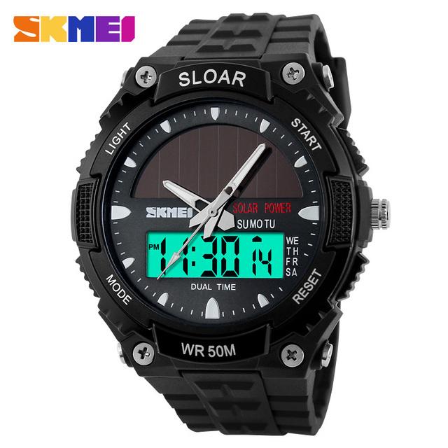 SKMEI Marca Hombres Relojes Deportivos Militar Al Aire Libre de la energía Solar LED de Moda Reloj Digital de Cuarzo de Pulsera de Múltiples Funciones