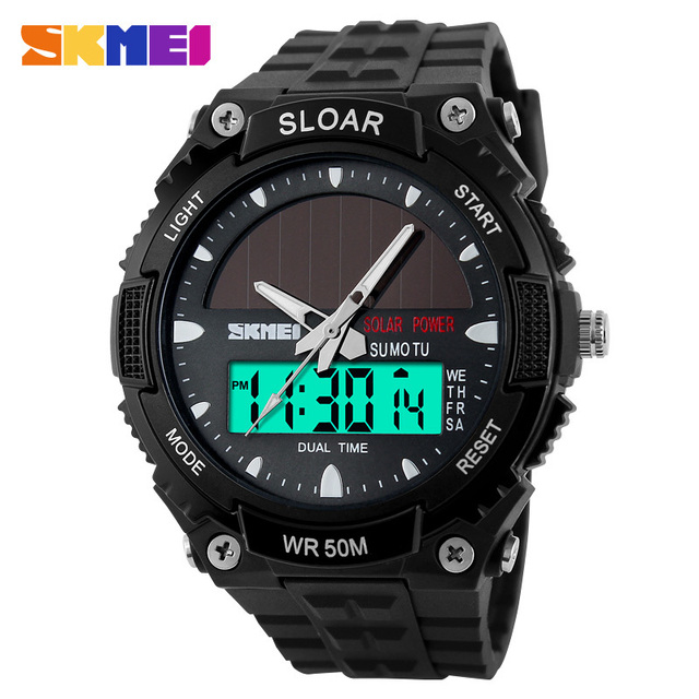 SKMEI Marca Homens Relógios Desportivos Militar Ao Ar Livre de energia Solar LEVOU Relógio de Forma Relógio Digital de Quartzo relógios de Pulso Multifuncionais