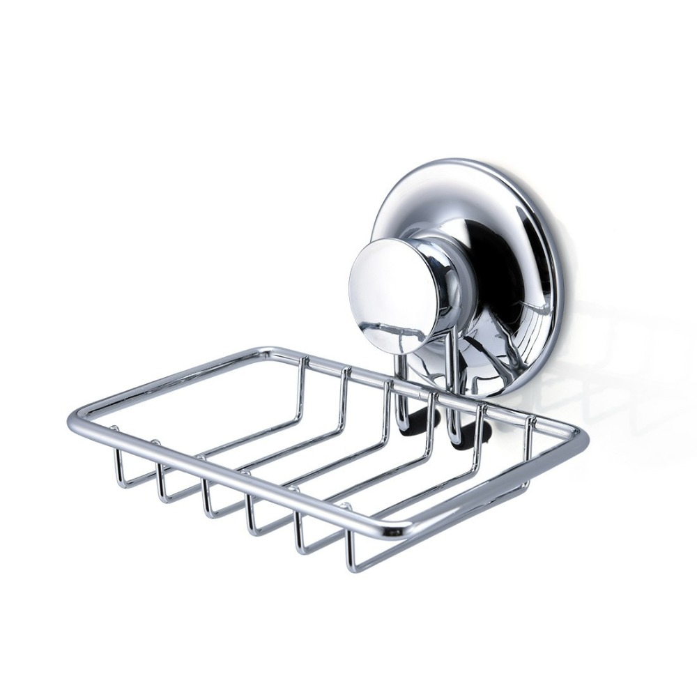 Stainless Steel Bathroom Soap Dish holder Shower Vacuum Suction Cup Kitchen Holder Soap Storage Dish Box Bathroom Accessories original xiaomi mijia hl bathroom 5 in1 sets for soap tooth hook storage box and phone holder for bathroom shower room tool