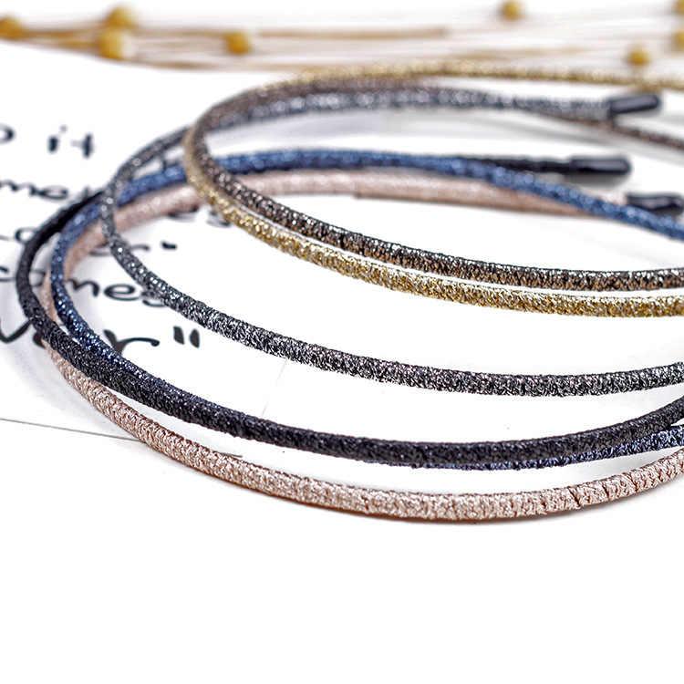 แฟชั่นผู้หญิง Super Thin Glitter Hairbands บุคลิกภาพ Handmade Shiny โลหะสี Headbands Chic ผู้ถือผม Headwear