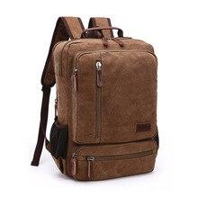 Students backpack schoolbags men large multiple pockets multipurpose mochila tide canvas classic retro travel  bag pack