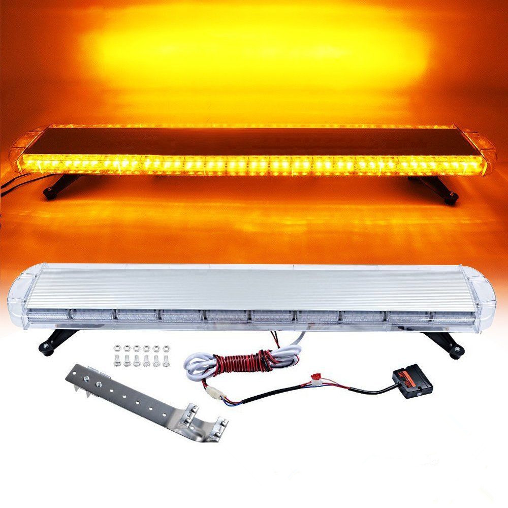 CYAN SOIL BAY 47 88W LED Strobe Light Bar Amber/Yellow Emergency Beacon Hazard Warning Flash Flashing Lamp 4x 4 led car flash truck emergency beacon light bar hazard strobe warning amber white blue red