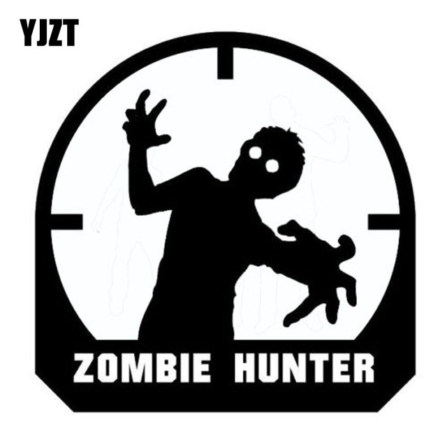 Yjzt 10 5cmx10 5cm fashion zombie hunter crosshairs target rifle vinyl decals car window sticker