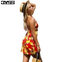 JYSS Summer Women Bohemian Beach Dresses Bright Color Red Yellow Lemon Print Pattern Backless Strap Dress