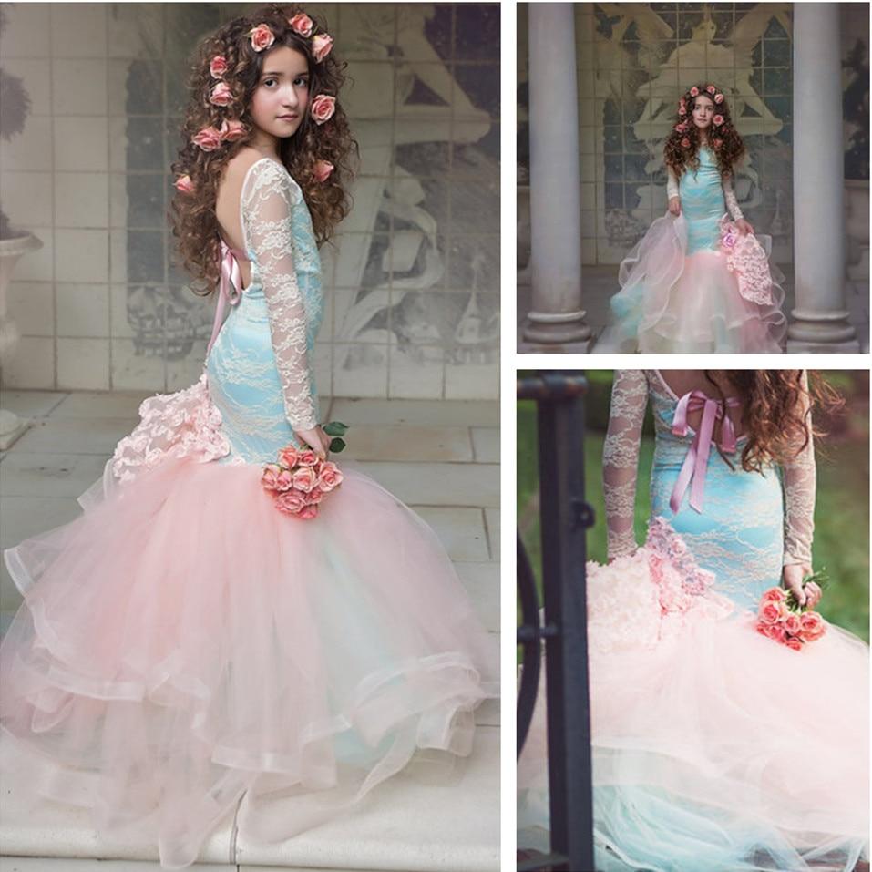 Elegant Flower Girl Wedding Party Dress Princess Mermaid Cos Play Lace Long Sleeves Backless Rainbow Bow Tutu Dress Size 4-14Y