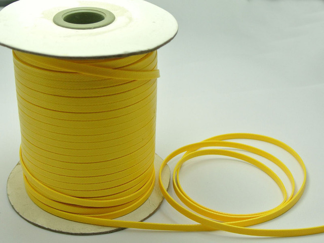 100 Yards Yellow FLAT Korean Waxed Cord Craft Lace String Thread 4mm Jewelry Accessories