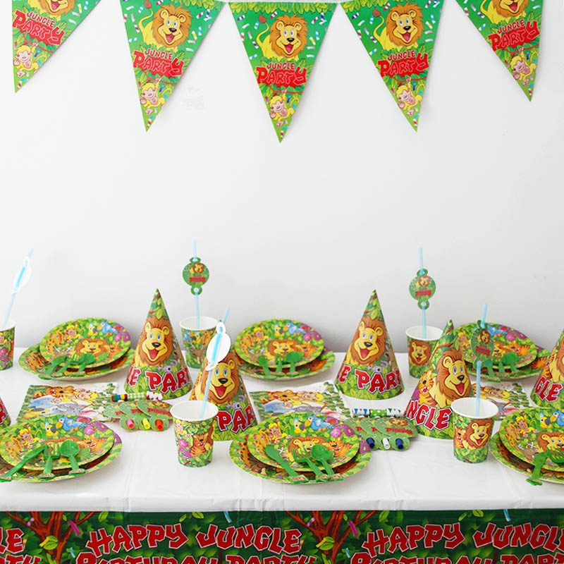 6 12 Guests Disposable tableware Treat boy birthday party deocr Kids favors lion king Paper plates Jungle animals baby shower in Party DIY Decorations from Home Garden