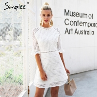 Simplee Elegant Hollow Out Lace Dress Women Half Sleeve Summer Style Midi White Dress 2018 Spring