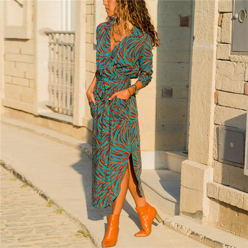Women Long Dress Floral Print Summer Maxi Chiffon Beach Dress Elegant Party Dress Long Sleeve Office Shirt Dress Vestidos Longo
