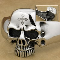 316L Stainless Steel Deep Engraved Skull Cross Mens Biker Punk Bangle Cuff 5J122 Fit 6.5 ~ 7.5 inches Wrist