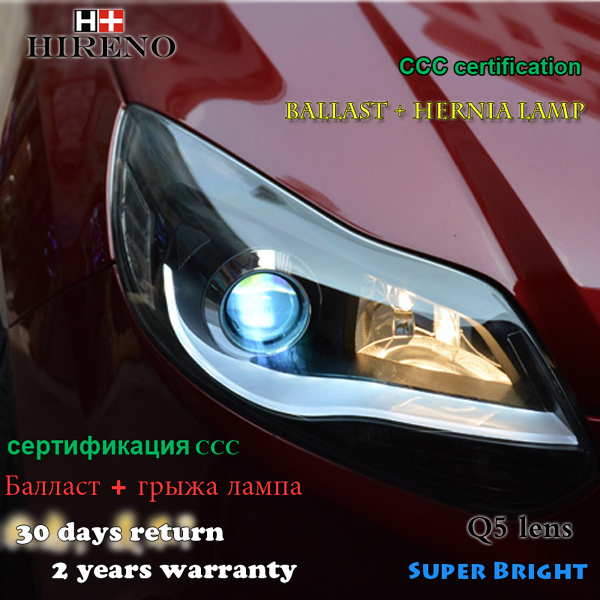 Hireno Headlamp for 2012-2014 Ford Focus Headlight Assembly LED DRL Angel Lens Double Beam HID Xenon 2pcs
