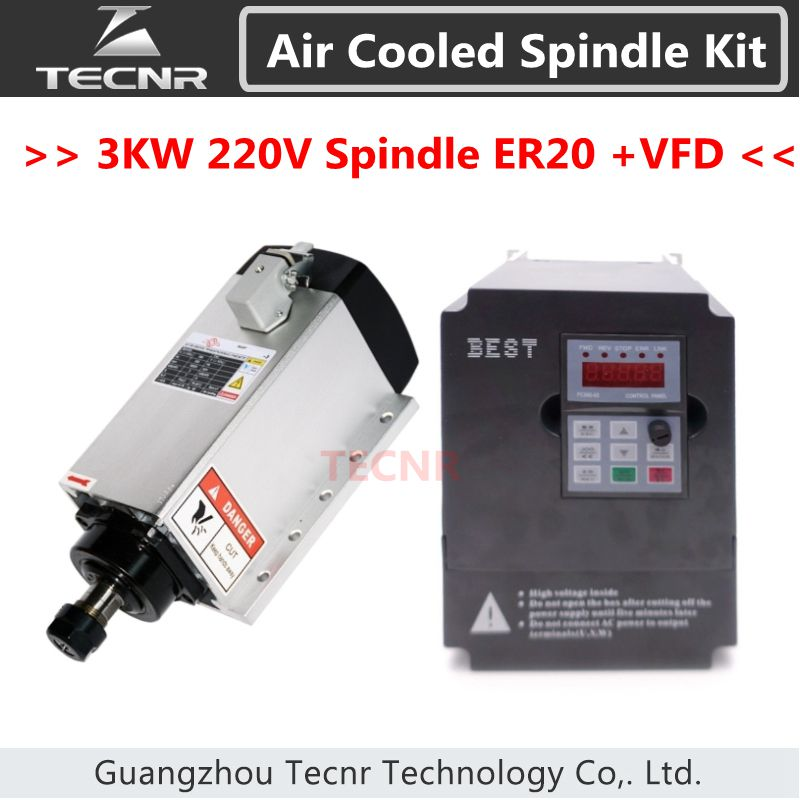 4pcs Ceramic Bearings 3kw 220v air cool spindle ER20 and 3KW inverter variable frequency driver