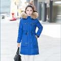 Plus Size Grande XXXL 2016 Mulheres Marca casacos de Inverno Jaquetas Preenchimento Quente Casaco Parka Com Capuz de Pele De Guaxinim Outwear Roupas