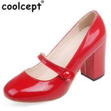 Coolcept Size 32- 43 Ladies High Heels Shoes Women Mary Jane Round Toe Pumps Sexy Square Heel Soft Leather High Quality Pumps