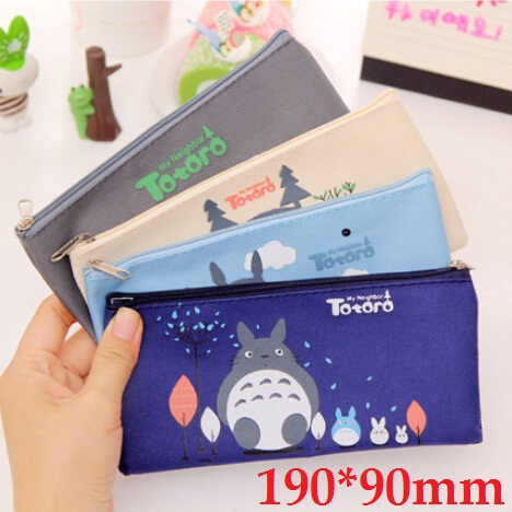 190*90mm/New Japan Cartoon Totoro Cat Series Canvas Pencil Bag/Cute High Capacity Clean Up Bag/Wholesale