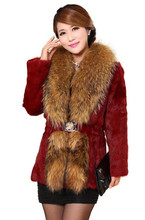 Real rabbit fur coat jacket coat raccoon fur collar Nagymaros long paragraph 2015 women's fashion fur coat factory outlets