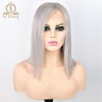 13*6 глубокий часть кружева фронтальной человеческие волосы серый боб парики 150% серый Цвет Ombre бразильские волосы парик для женщина предвари