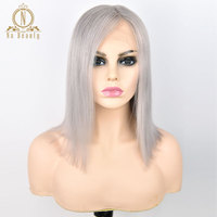 13*6 Deep Part Lace Frontal Human Hair Gray Bob Wigs 150% Grey Color Ombre Brazilian Hair Wig For Woman Pre Plucked Hairline