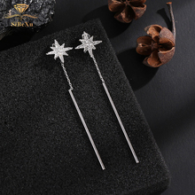 купить Fashion 925 Sterling Silver Wedding Drop Earrings With Swarovski Element Star Tassel Long Chain Crystal Party Bride Jewelry Gift дешево