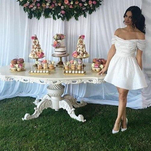 Cocktail Dresses Plus Size White Short Evening Prom Dress 2019
