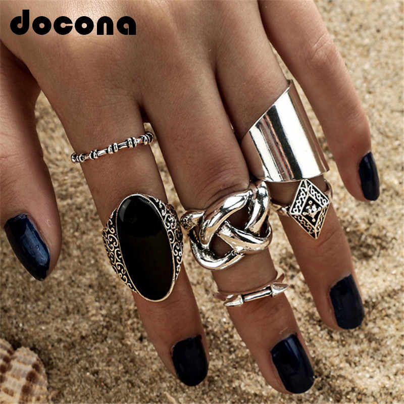 docona  5pcs/Set Fashion High Quality Bohemia Style Rings Set Classic Shape Pattern Crystal Pendant for Women Charm Jewelry