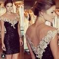 Black Sequins Lace Appliques Straight Knee Length Party Dress TB1632