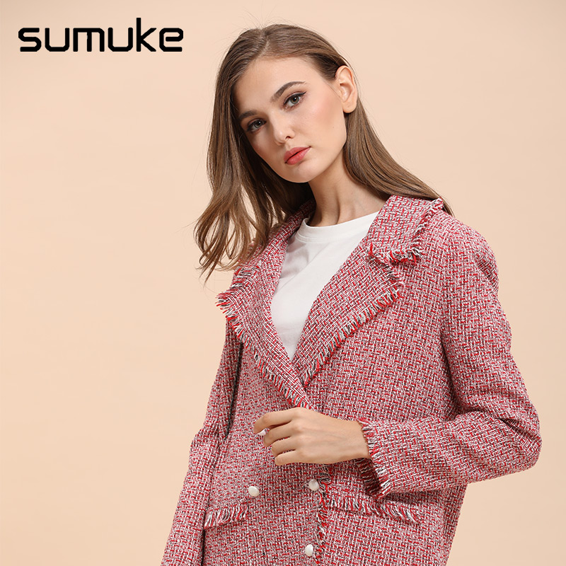 Sumuke Multicolor Workwear Elegant Fitted Frayed Edge Tweed Blazer Girls 2018 Autumn Coloured Vogue Blazer Wool Blends