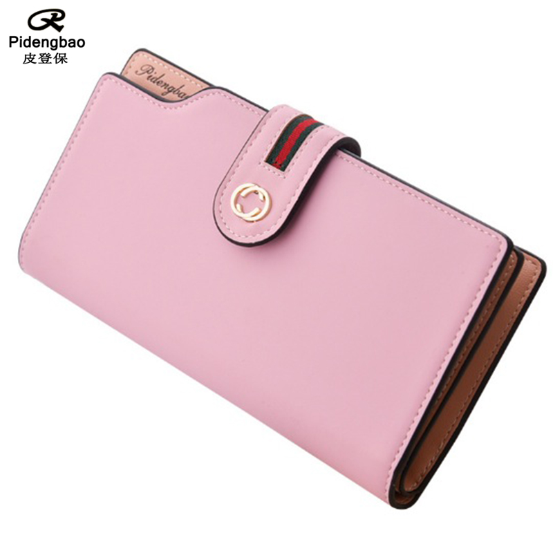 PIDENGBAO Women Wallet Long Designer PU Leather Coin Purses Female Clutch Credit Card Holders Solid Candy Color Hasp Wallet Girl 2017 new ladies purses in europe and america long wallet female cards holders cartoon cat pu wallet coin purses girl