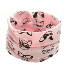 New Autumn Winter Boys Girls Baby Cartoon Dog Scarf Cotton O Ring Neck Scarves wear collars fashion neckerchief scarves #YL5(China)