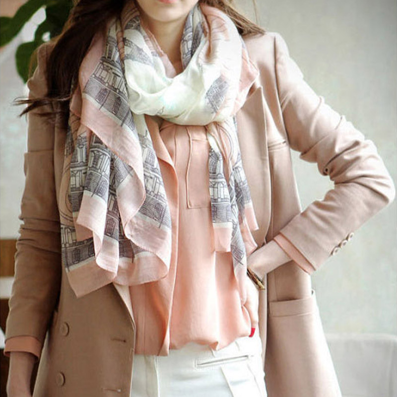 Hot Sale Women Long   Scarf   Warm   Wrap   Shawl Female Fashion Design Charming Eiffel Tower Print Cotton Elegant   Scarf   Plus Size Pink