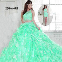 Dress For 15 16 Mint Blue Two Pieces Detachable Train Organza Ruffles Ball Gown Quinceanera Dresses 2019 Scoop Tank Crystal Gown