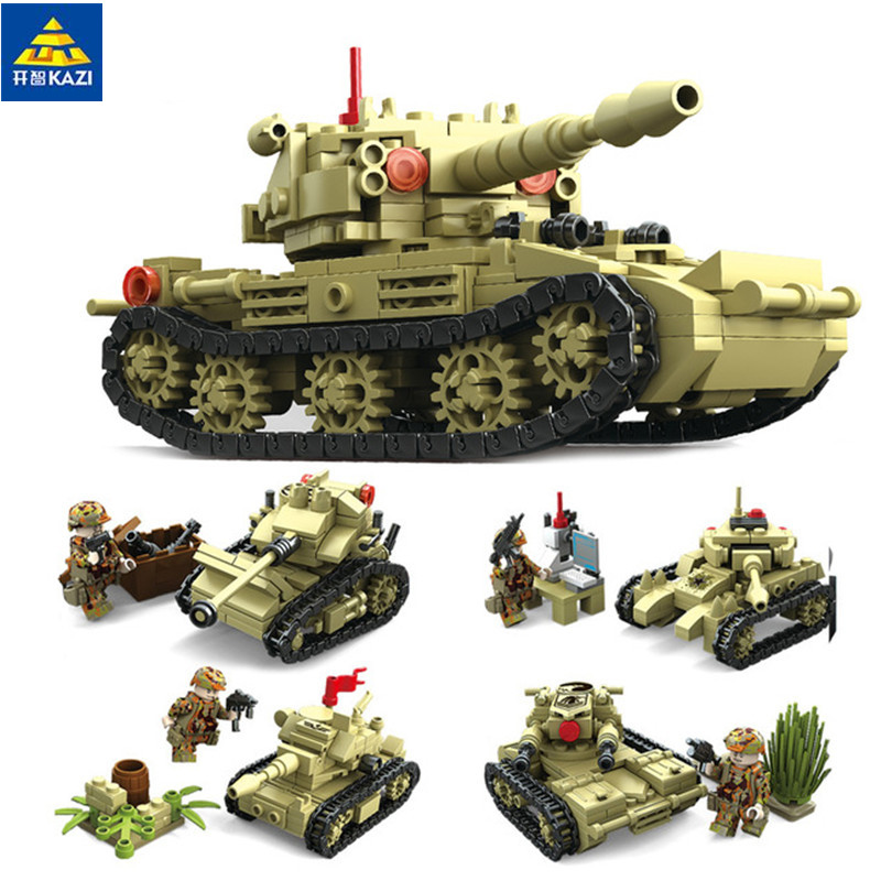 4 In 1 Military 642pcs Army War Tank Building Blocks tank weapon Bricks Toys For Children friends 84050 qunlong military 8in1 829pcs 8 figures building blocks compatible legoed tank warship army war toys for children constructor set
