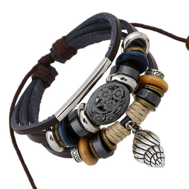 HOT Retro Conch Small Pendant Jewelry Bracelet Handmade Beads Women Men Bracelet