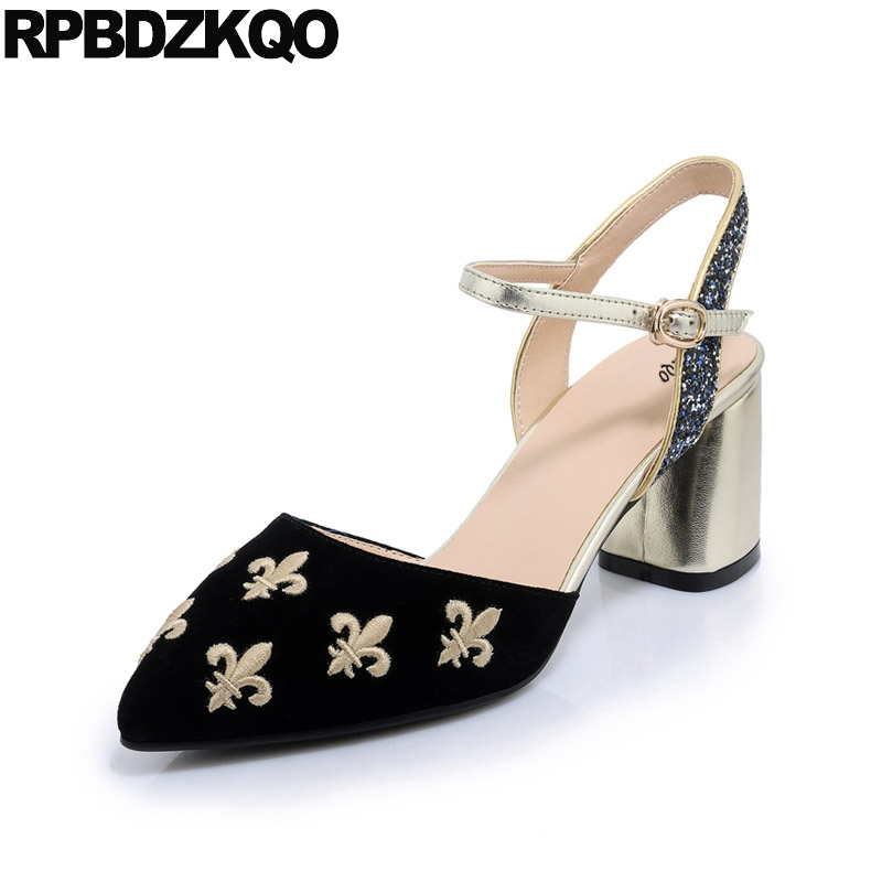 Female Luxury Block Heels Slingback Pointed Toe Strap Women Genuine Leather Suede Ankle Brown Glitter Embroidered 3 Inch High pu pointed toe flats with eyelet strap