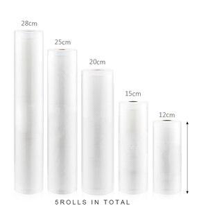 Image 1 - Eworld emballage sous vide rouleaux sous vide sac plastique sacs de rangement maison scelleur sous vide économiseur alimentaire 12 + 17 + 20 + 25 + 28cm * 500cm 5 rouleaux/Lot